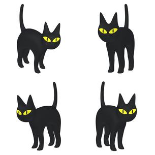 ハロウィン ミステリアスな黒猫 (1) 四点セット カット集のイラスト素材 [FYI04633523]