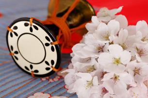 さくらの花と鼓の写真素材 [FYI04633831]