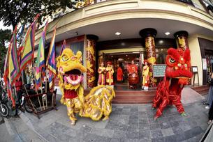 伝統獅子舞のデモンストレーションの写真素材 [FYI04633877]