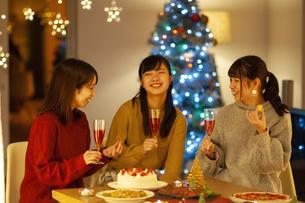 クリスマスパーティーを楽しむ若者の写真素材 [FYI04633998]