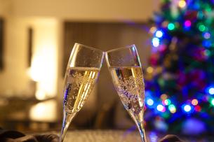 クリスマスツリーとシャンパンの写真素材 [FYI04634037]