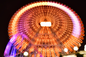 横浜みなとみらいの夜景 多重露光の写真素材 [FYI04634258]
