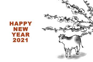 牛と梅の花の線画年賀状のイラスト素材 [FYI04634355]