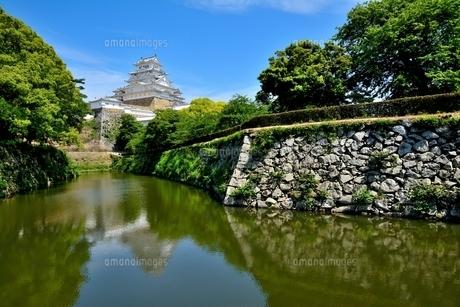 姫路城 新緑 濠の写真素材 [FYI04634370]
