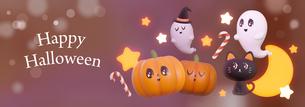 Halloween,Pumpkin,Retro,Cute,Fun,Smile,Happy_title ,ハロウィン,カボチャ, お化け_タイトル のイラスト素材 [FYI04634522]
