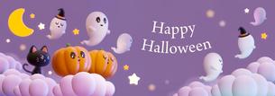 Halloween,Pumpkin,Retro,Cute,Fun,Smile,Happy,cloud_title ハロウィン,カボチャ, お化け,雲 _タイトルのイラスト素材 [FYI04634523]