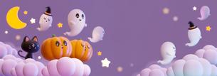 Halloween,Pumpkin,Retro,Cute,Fun,Smile,Happy,cloud, ハロウィン,カボチャ, お化け,雲のイラスト素材 [FYI04634524]