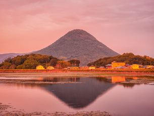【香川県 丸亀市】宮池から見る夕方の飯野山 讃岐富士の写真素材 [FYI04634556]