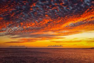 【ハワイ オアフ島】ワイキキビーチから見る夕方の赤く染まる海と空の写真素材 [FYI04634604]