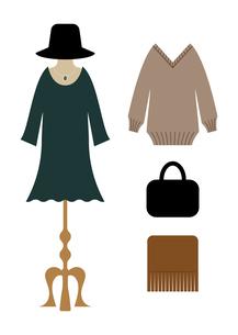 冬の洋服と服飾雑貨のイラスト素材 [FYI04635114]