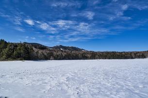 北八ヶ岳の雨池 雪景色の写真素材 [FYI04635340]