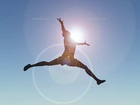 ジャンプする女性のイラスト素材 [FYI04635478]