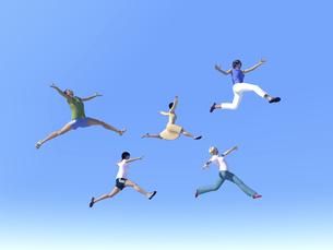 ジャンプする女性5人のイラスト素材 [FYI04635492]