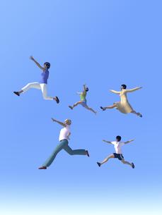 ジャンプする女性5人のイラスト素材 [FYI04635493]