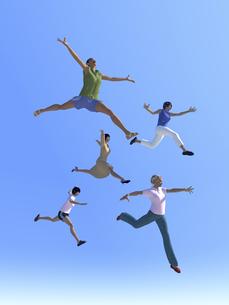 ジャンプする女性5人のイラスト素材 [FYI04635495]