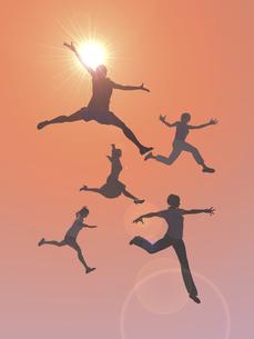 逆光下でジャンプする女性5人のイラスト素材 [FYI04635498]