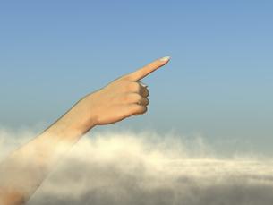 雲間から指差す手のイラスト素材 [FYI04635540]