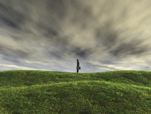 丘の上で空を見上げるビジネスマンのイラスト素材 [FYI04635543]