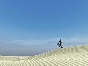 砂丘を超えて行くビジネスマンのイラスト素材 [FYI04635549]