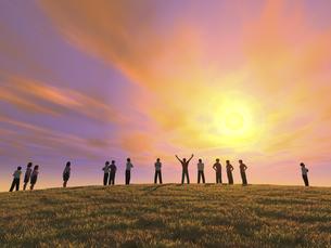 丘の上で夕日を眺める一団のイラスト素材 [FYI04635551]
