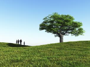 丘に立つ一本の大樹を眺める家族4人のイラスト素材 [FYI04635557]