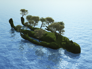 波打つ水面に浮かぶ人型の小島と生える木々のイラスト素材 [FYI04635573]