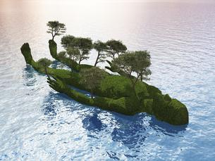 波打つ水面に浮かぶ人型の小島と生える木々のイラスト素材 [FYI04635574]