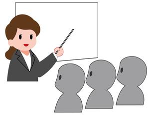 セミナー、女性講師と聴衆のイラスト素材 [FYI04635654]