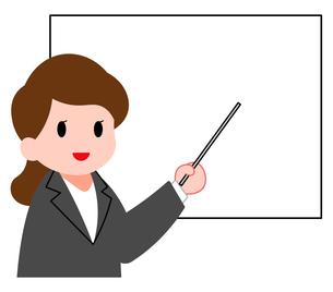 セミナー、女性講師のイラスト素材 [FYI04635655]