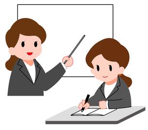 セミナー、女性講師と勉強する若い女性のイラスト素材 [FYI04635657]
