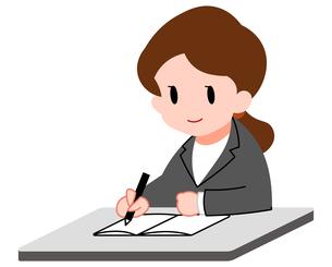 勉強する若い女性のイラスト素材 [FYI04635661]