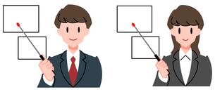 セミナー、男性講師と女性講師、セットのイラスト素材 [FYI04635663]