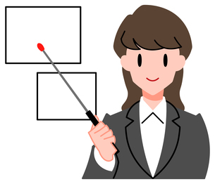セミナー、女性講師のイラスト素材 [FYI04635664]