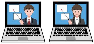 ノートパソコン、オンラインセミナー、オンライン授業、男性講師、女性講師、セットのイラスト素材 [FYI04635673]