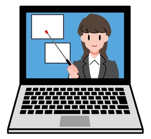 ノートパソコン、オンラインセミナー、オンライン授業、女性講師のイラスト素材 [FYI04635675]