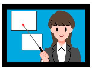 オンラインセミナー、オンライン授業、女性講師のイラスト素材 [FYI04635676]