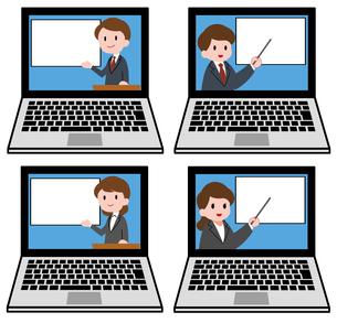 ノートパソコン、オンラインセミナー、オンライン授業、男性講師、女性講師、セットのイラスト素材 [FYI04635681]