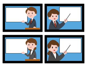 オンラインセミナー、オンライン授業、男性講師、女性講師、セットのイラスト素材 [FYI04635682]