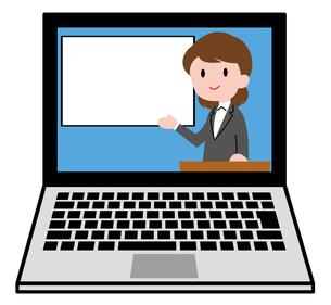 ノートパソコン、オンラインセミナー、オンライン授業、女性講師のイラスト素材 [FYI04635684]