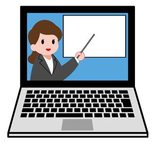 ノートパソコン、オンラインセミナー、オンライン授業、女性講師のイラスト素材 [FYI04635685]