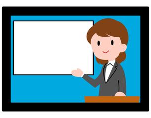 オンラインセミナー、オンライン授業、女性講師のイラスト素材 [FYI04635686]