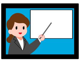 オンラインセミナー、オンライン授業、女性講師のイラスト素材 [FYI04635688]