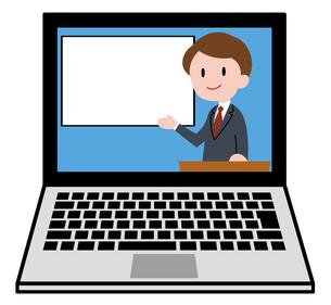 ノートパソコン、オンラインセミナー、オンライン授業、男性講師のイラスト素材 [FYI04635689]