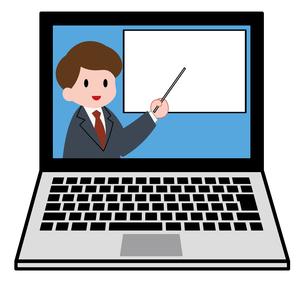 ノートパソコン、オンラインセミナー、オンライン授業、男性講師のイラスト素材 [FYI04635691]