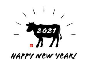 年賀状素材 2021年丑年のイラストのイラスト素材 [FYI04635870]