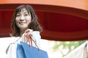 ショッピングバッグを持つ笑顔の女性の写真素材 [FYI04637330]