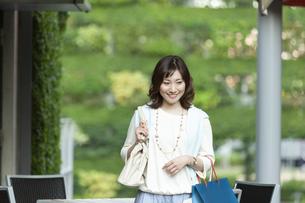 ショッピングバッグを持つ笑顔の女性の写真素材 [FYI04637346]