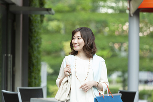 ショッピングバッグを持つ笑顔の女性の写真素材 [FYI04637347]