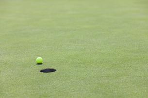 グリーンを転がるゴルフボールの写真素材 [FYI04637949]