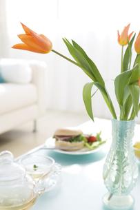 花瓶に生けられた花などがあるリビングルームの写真素材 [FYI04638243]
